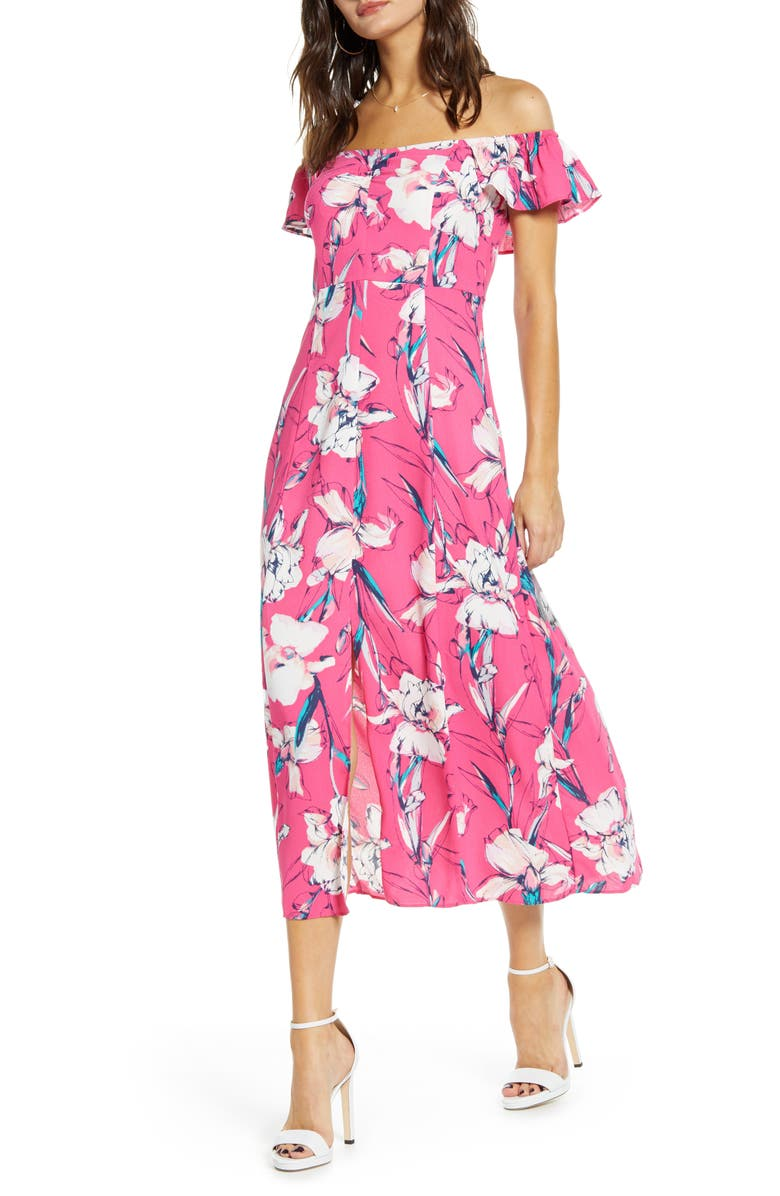 LEITH Floral Flounce Detail Dress, Main, color, PINK MAGENTA INKED IRIS