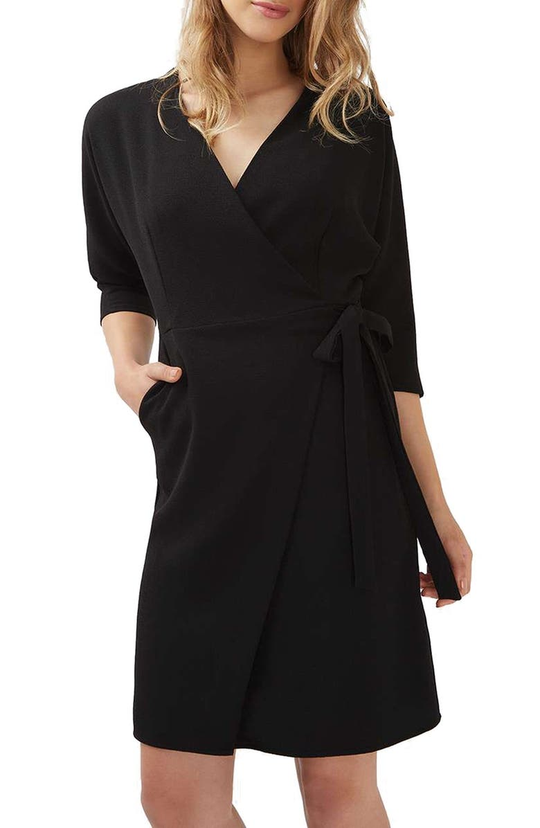 TOPSHOP Dolman Sleeve Wrap Midi Dress, Main, color, 001