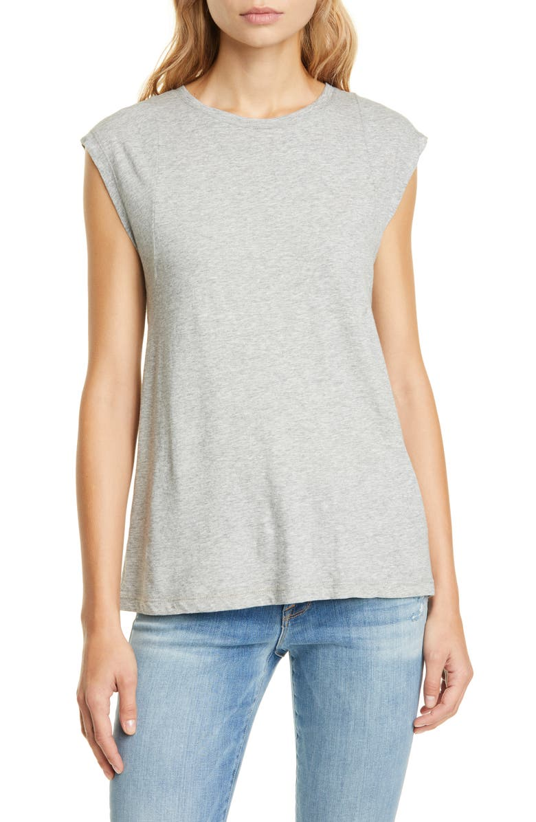 FRAME Le High Rise Muscle Tee, Main, color, GRIS HEATHER