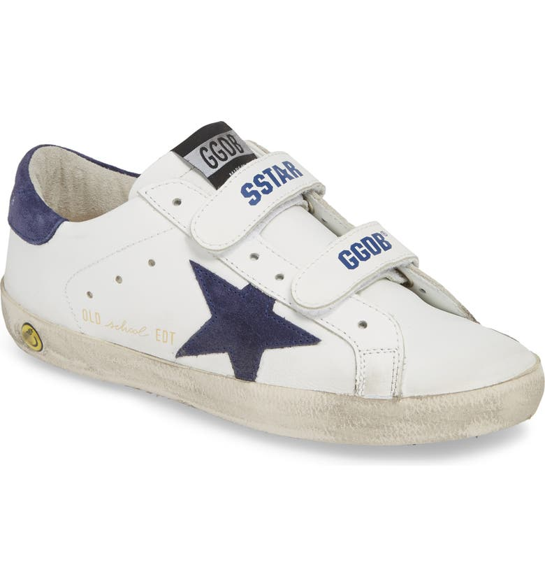 GOLDEN GOOSE Glitter Old School Sneaker, Main, color, WHITE LEATHER/ NAVY STAR
