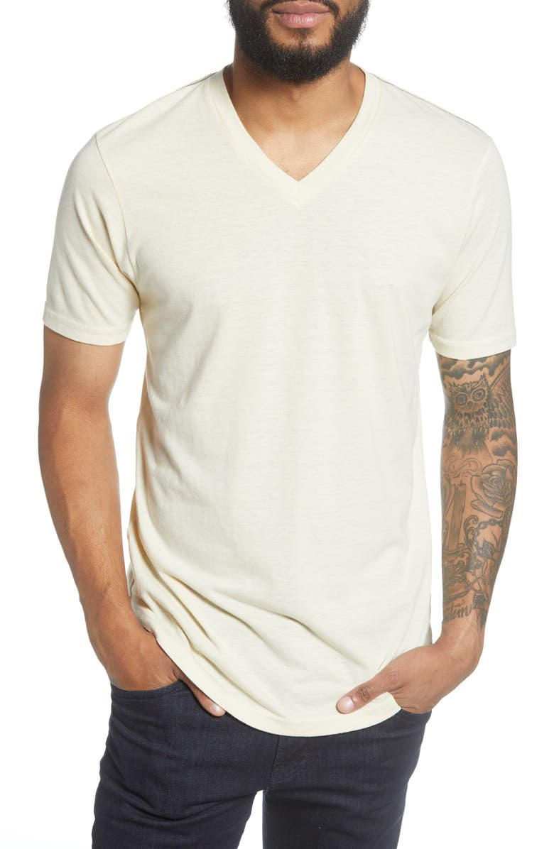 GOODLIFE Scallop Triblend V-Neck T-Shirt, Main, color, SEED