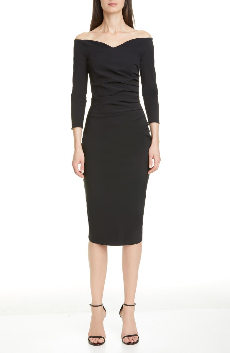 CHIARA BONI LA PETITE ROBE Suzie Off the Shoulder Cocktail Dress, Main, color, 001