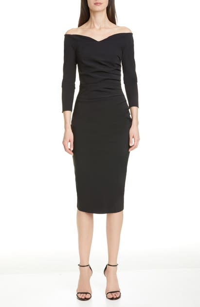 Chiara Boni La Petite Robe Three Quarter-sleeve Pleated Sheath Dress In Black