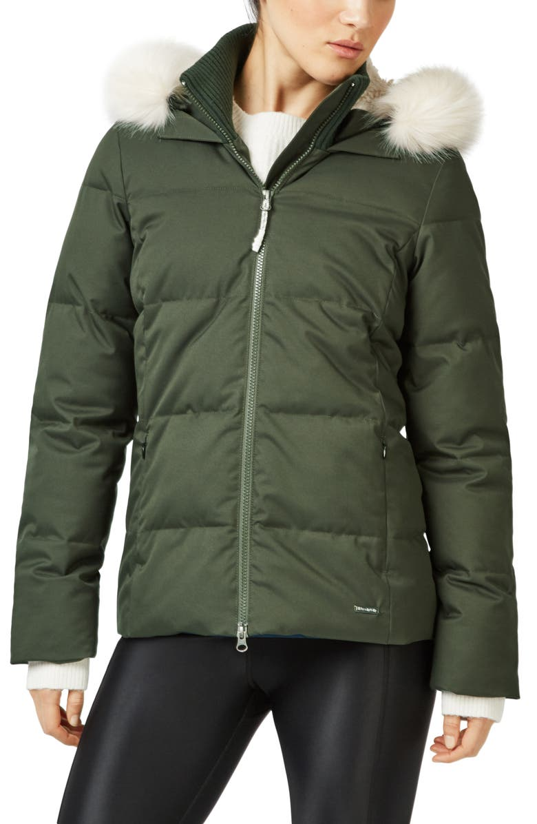 SWEATY BETTY North Pole Quilted Primaloft<sup>®</sup> Hooded Jacket with Faux Fur Trim, Main, color, DARK FOREST GREEN