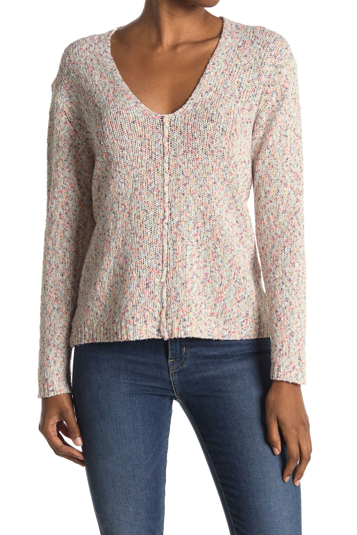 Image of Heartloom Relaxed Fit Marbled Knit V-Neck Sweater