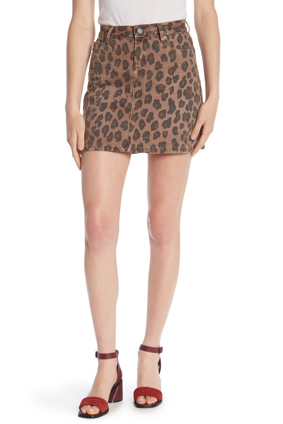 Image of BLANKNYC Denim Leopard Print Denim Mini Skirt