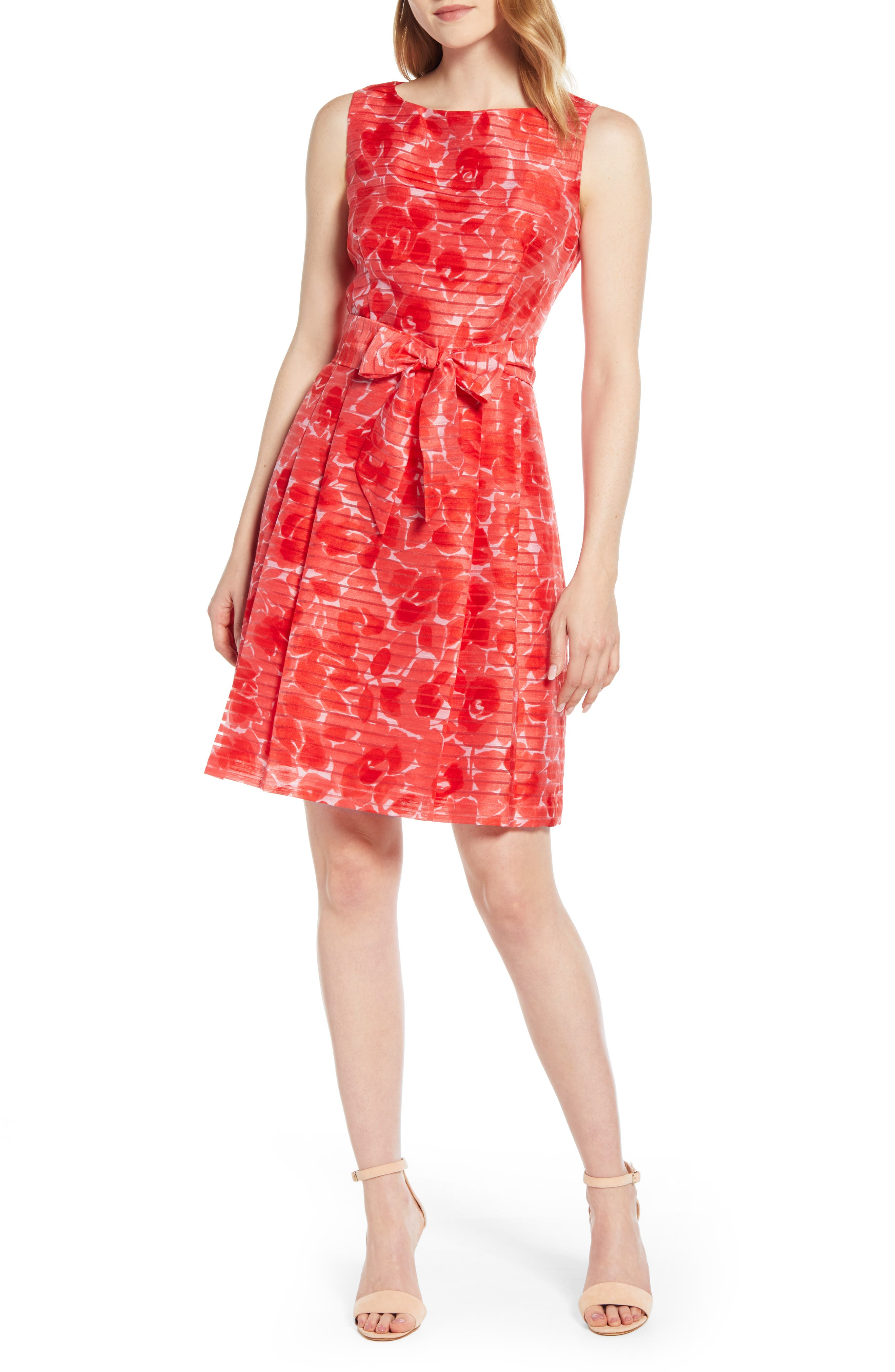 Anne Klein Floral Shadow Stripe Fit & Flare Dress, Red