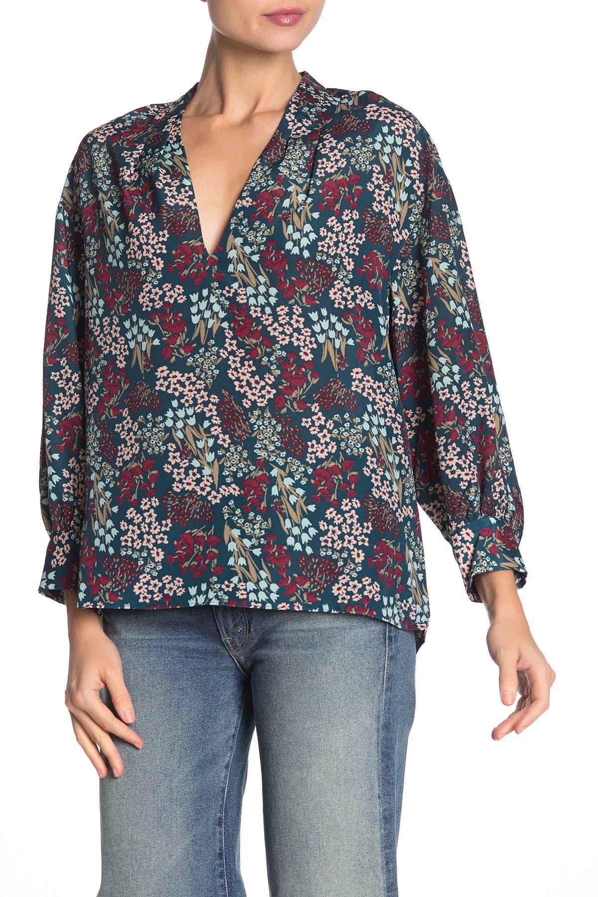 Image of Joie Ninarika Floral Long Sleeve Blouse