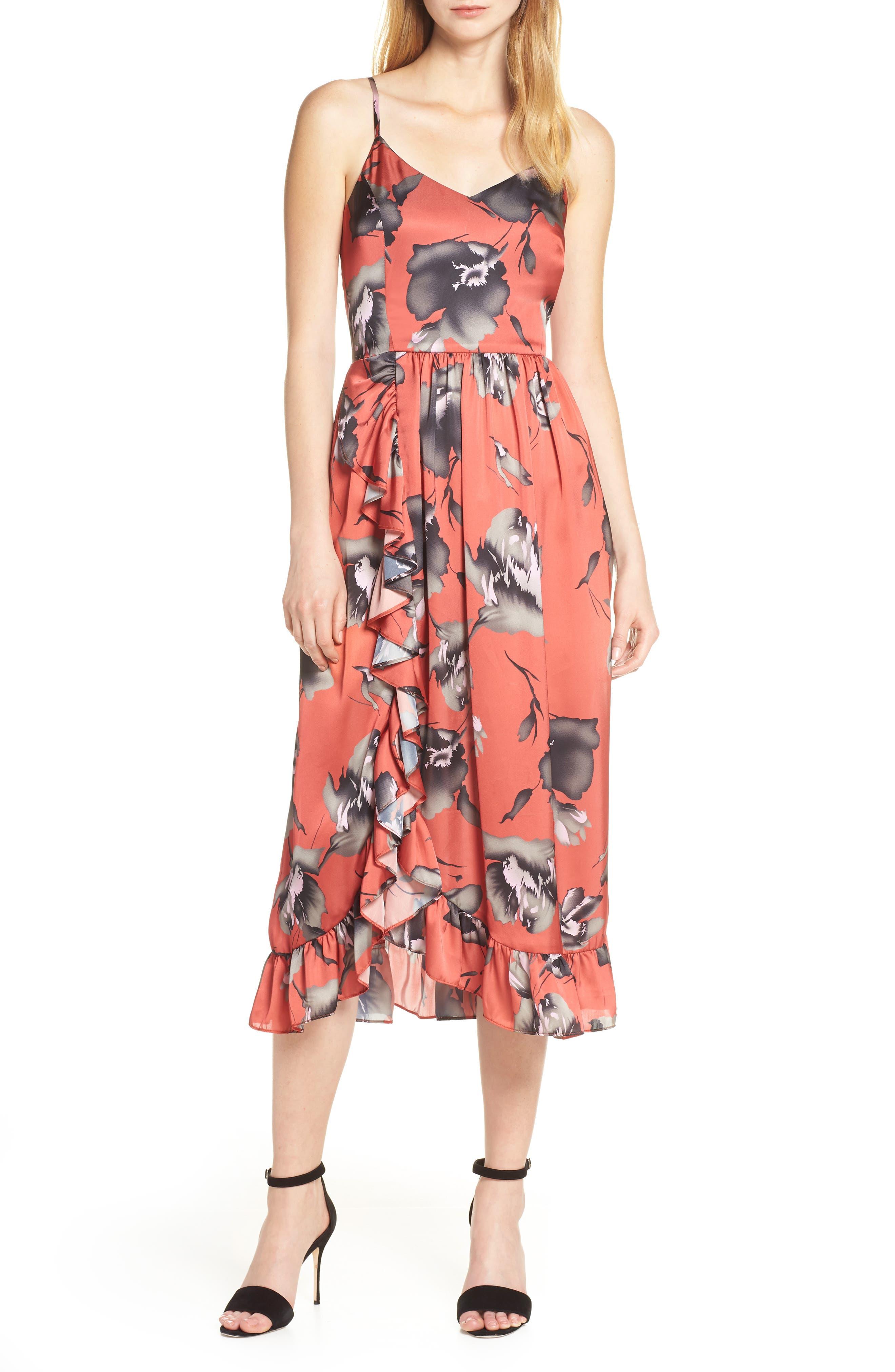 Avec Les Filles Brushstroke Floral Print Satin Dress, Coral