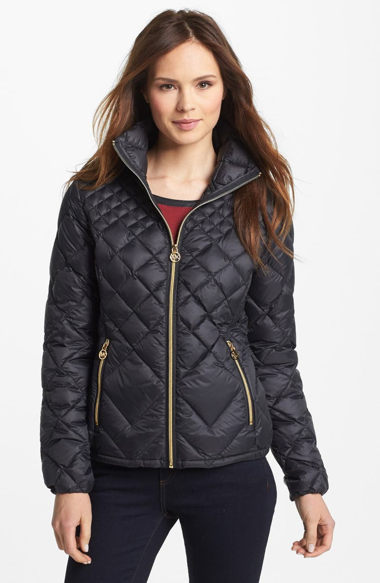 MICHAEL MICHAEL KORS Diamond Quilted Down Jacket, Main, color, 001