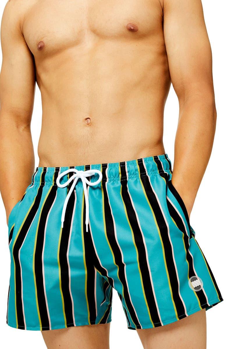 TOPMAN Classic Fit Block Stripe Swim Trunks, Main, color, BLUE MULTI