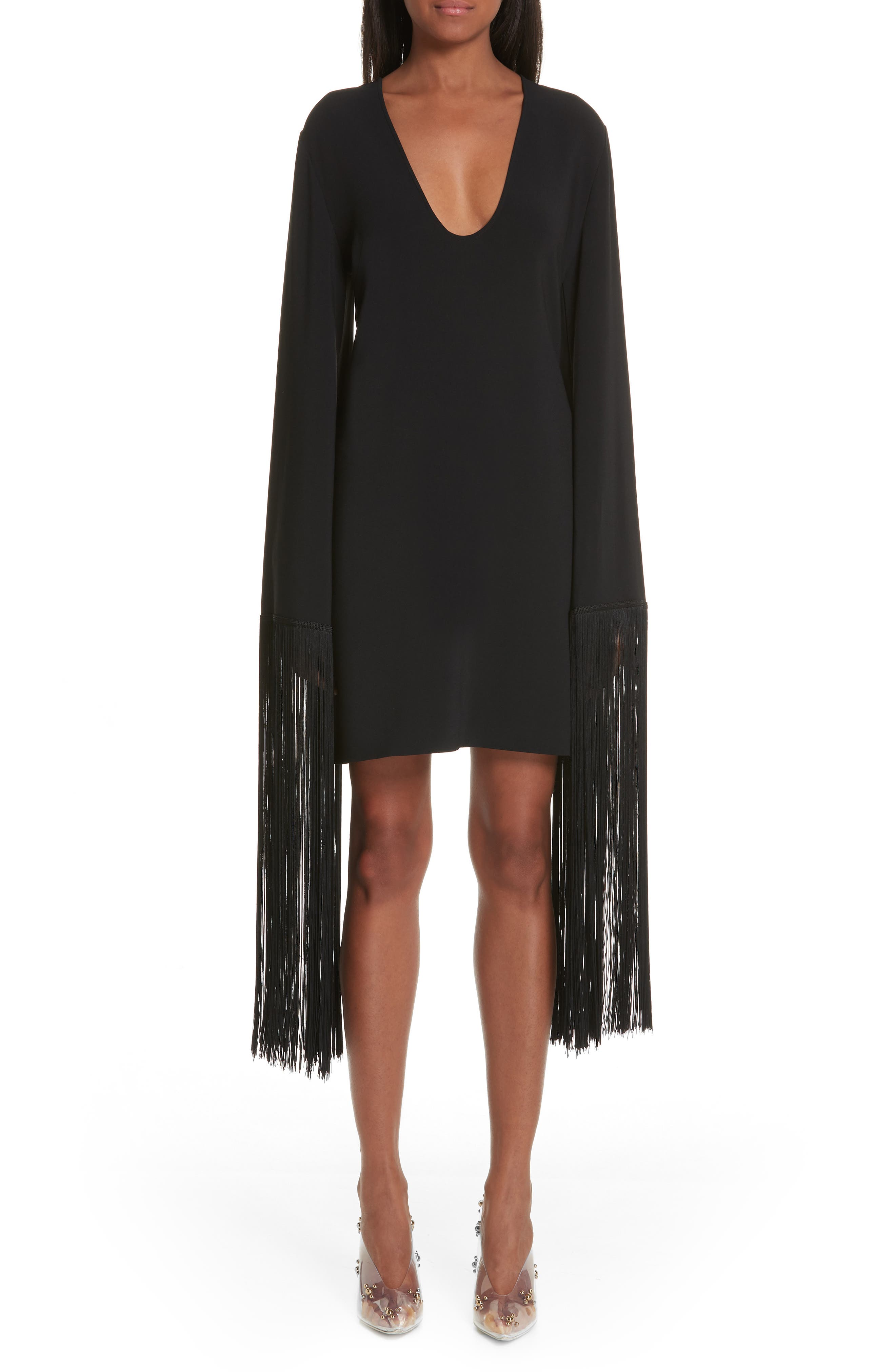 Stella Mccartney Fringe Cuff Shift Dress, 6 IT - Black