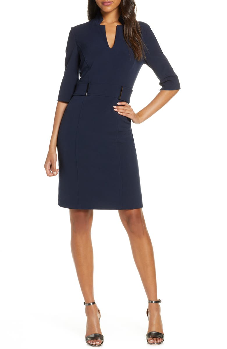 TAHARI Inverted Notch Collar Stretch Crepe Sheath Dress, Main, color, NAVY