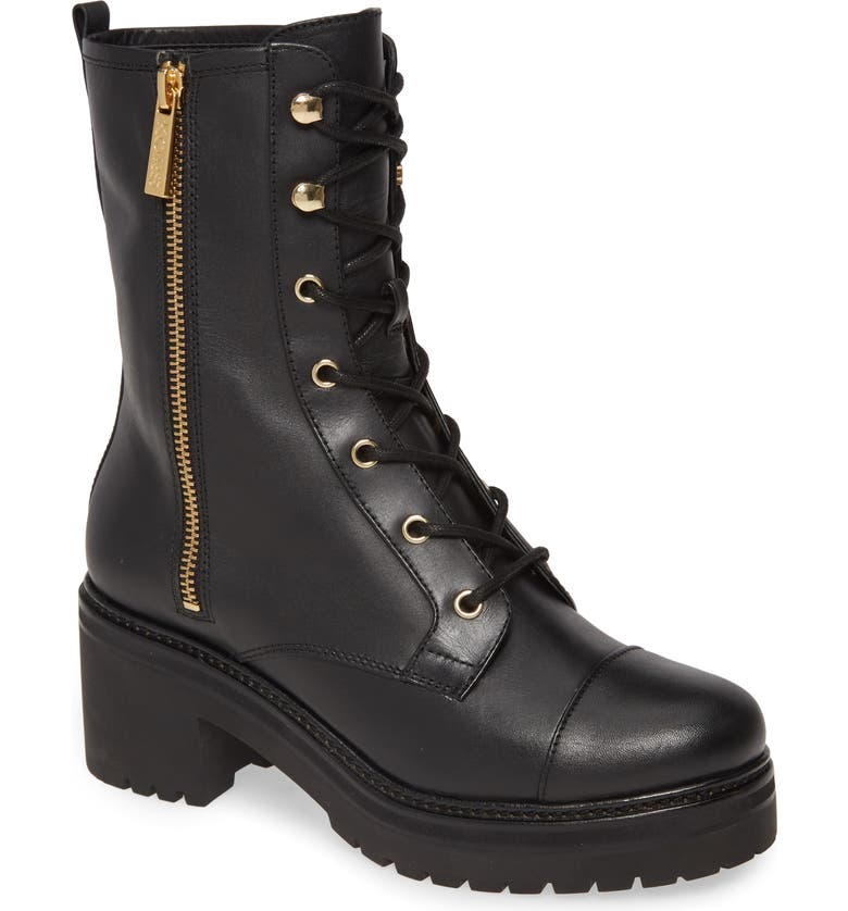 MICHAEL MICHAEL KORS Anaka Lace-Up Boot, Main, color, BLACK VACHETTA LEATHER