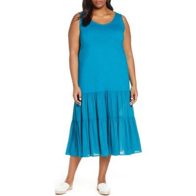 Plus Size Caslon Mix Media Drop Waist Midi Dress, Blue/green