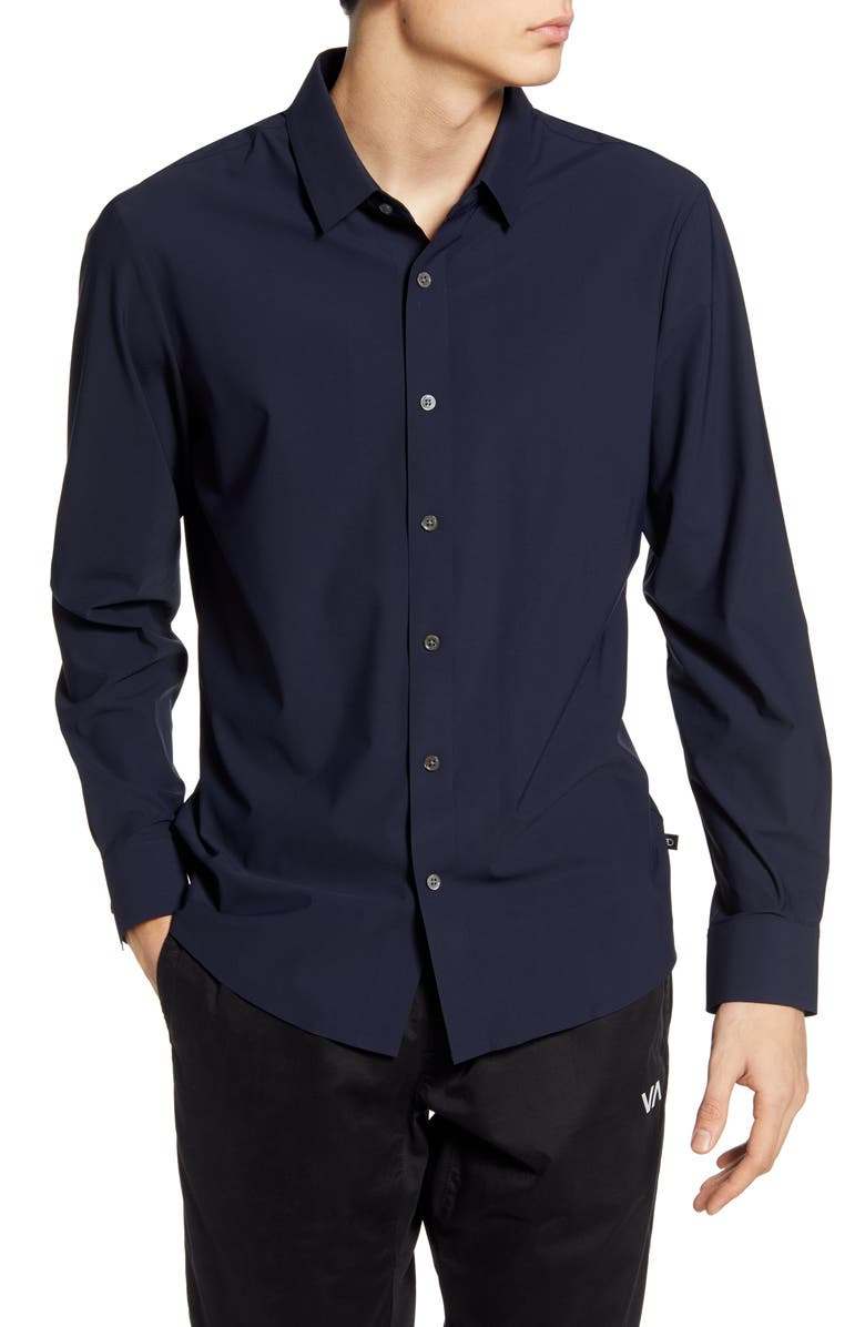 7 DIAMONDS Young Americans Slim Fit Button-Up Performance Shirt, Main, color, NAVY