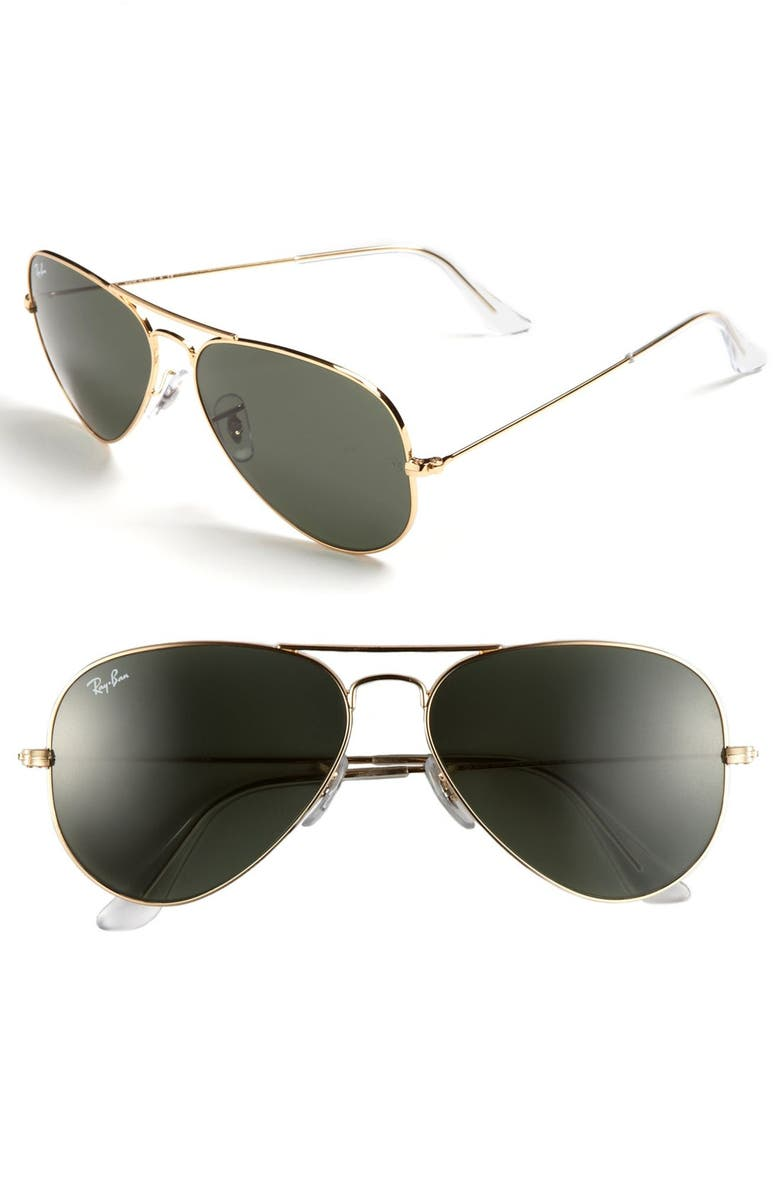 RAY-BAN Standard Original 58mm Aviator Sunglasses, Main, color, GOLD