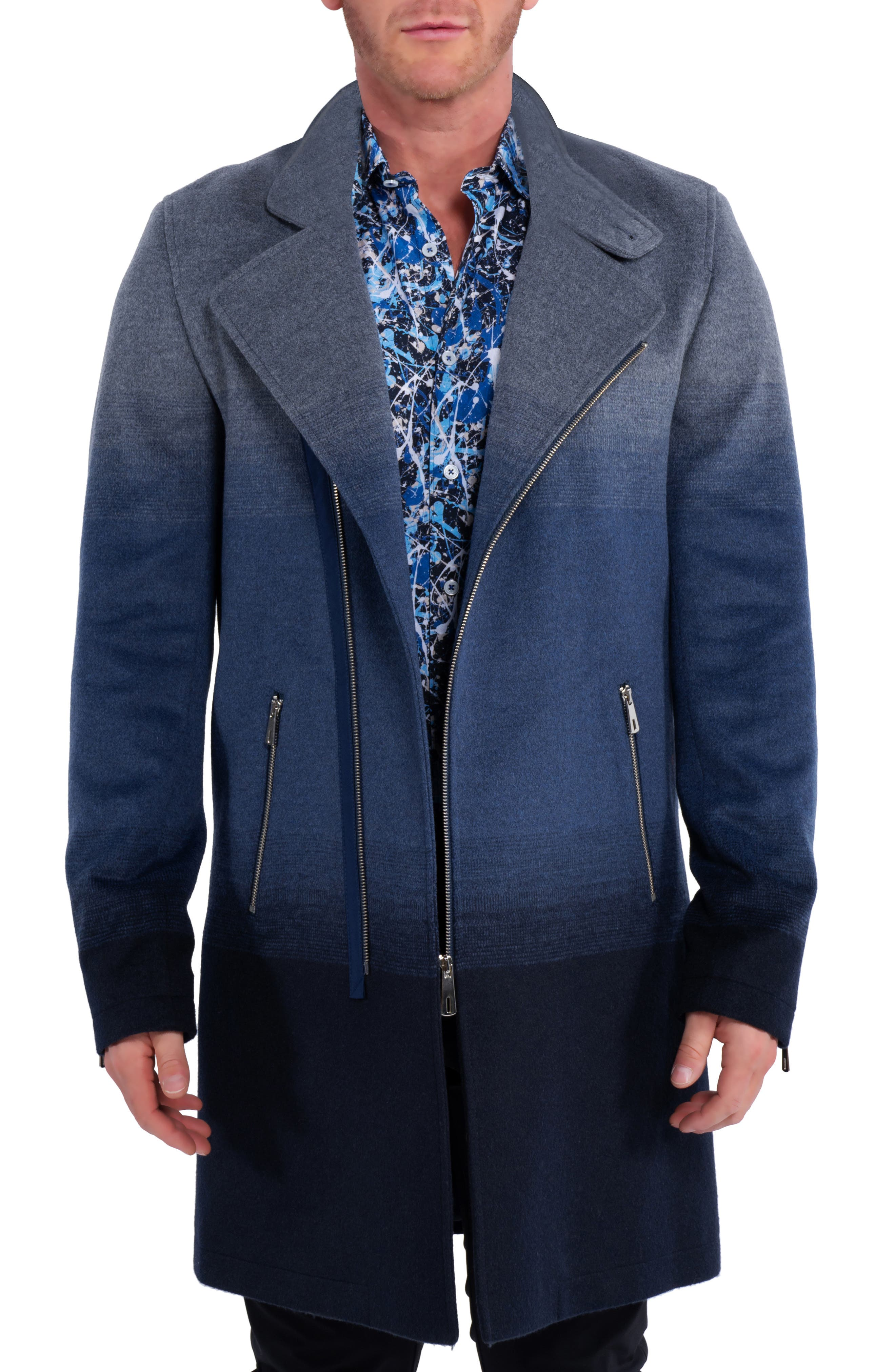 Zipombre Wool & Cashmere Overcoat With Faux Fur Trim