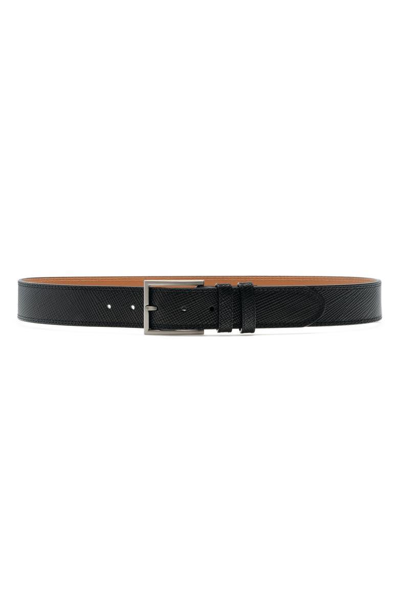 MAGNANNI Eastwood Pebble Leather Belt, Main, color, BLACK
