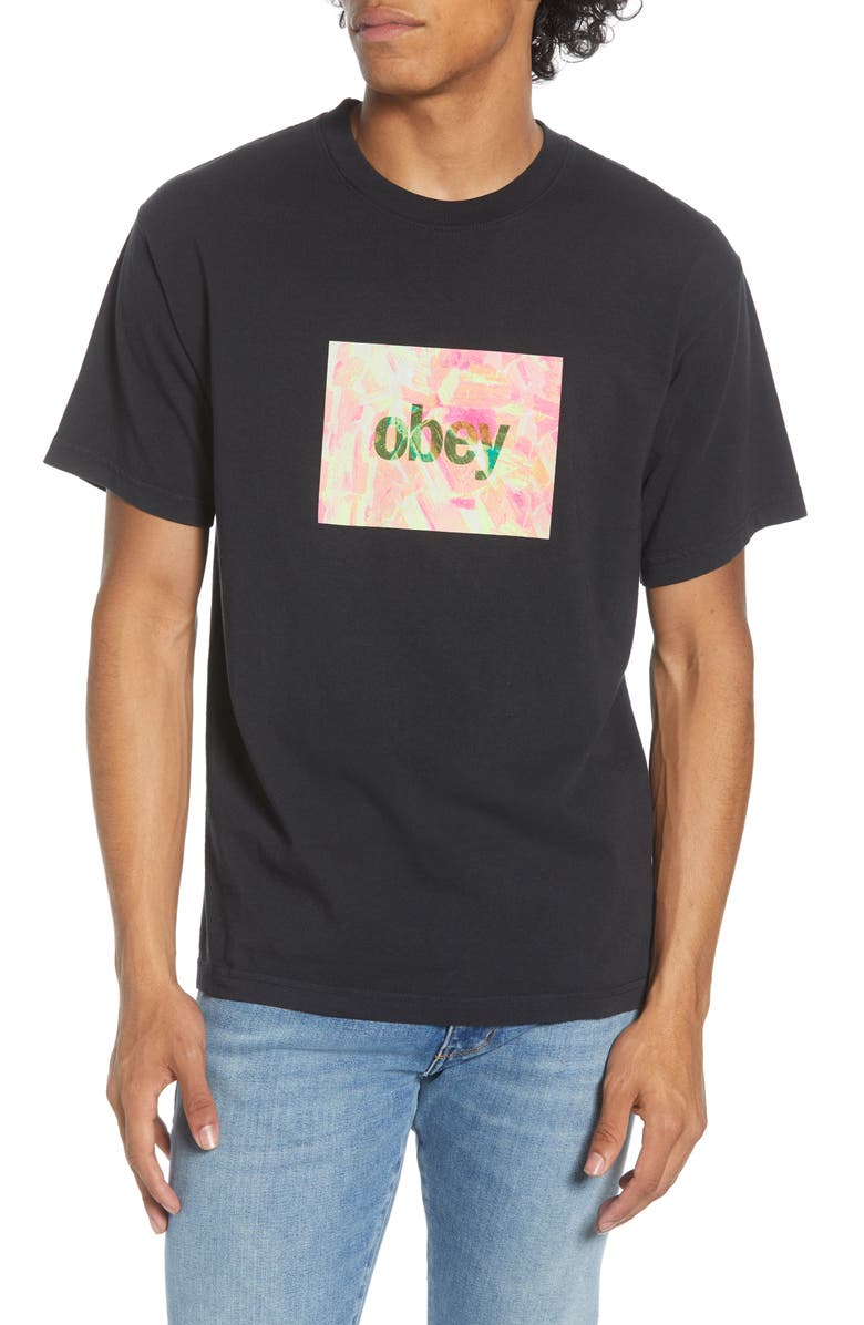 OBEY Petrified Box Logo T-Shirt, Main, color, OFF BLACK