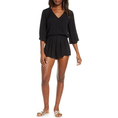 Elan Stripe Cover-Up Romper, Black (Nordstrom Exclusive)