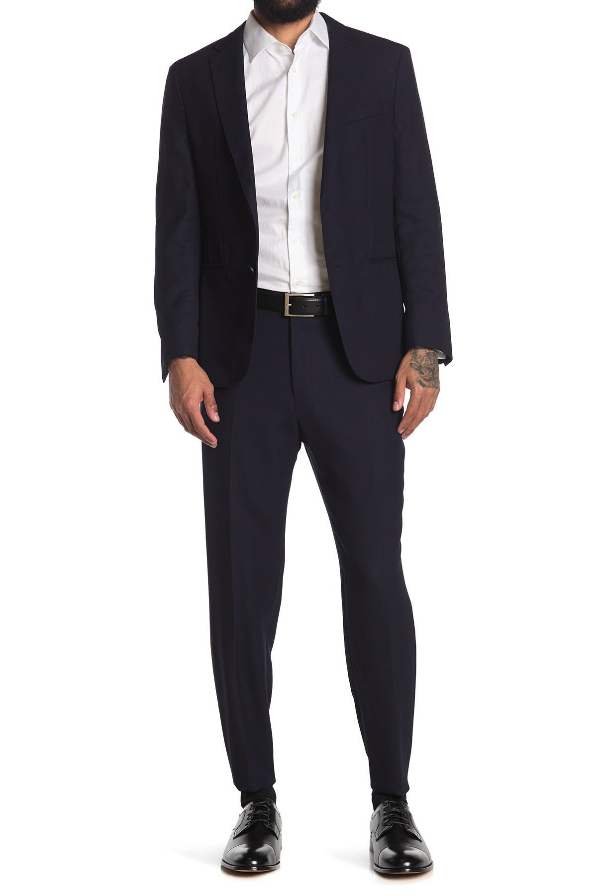 Image of BOSS Nolin Pirko Dark Blue Solid Two Button Notch Lapel Suit
