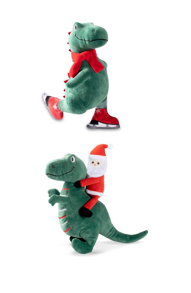 FRINGE STUDIO Ice Skating T-Rex and Santa Saurus Rex 2-Piece Dog Toy Set, Main, color, GREEN