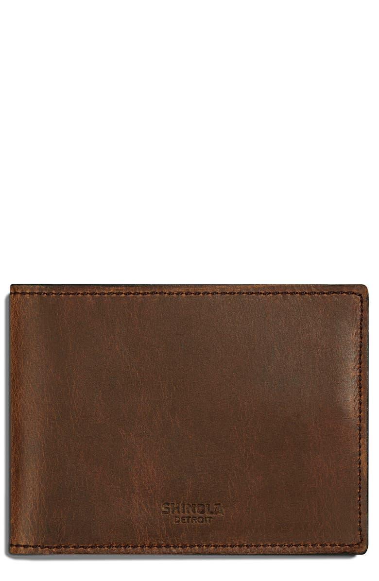 SHINOLA Navigator Leather Wallet, Main, color, MEDIUM BROWN