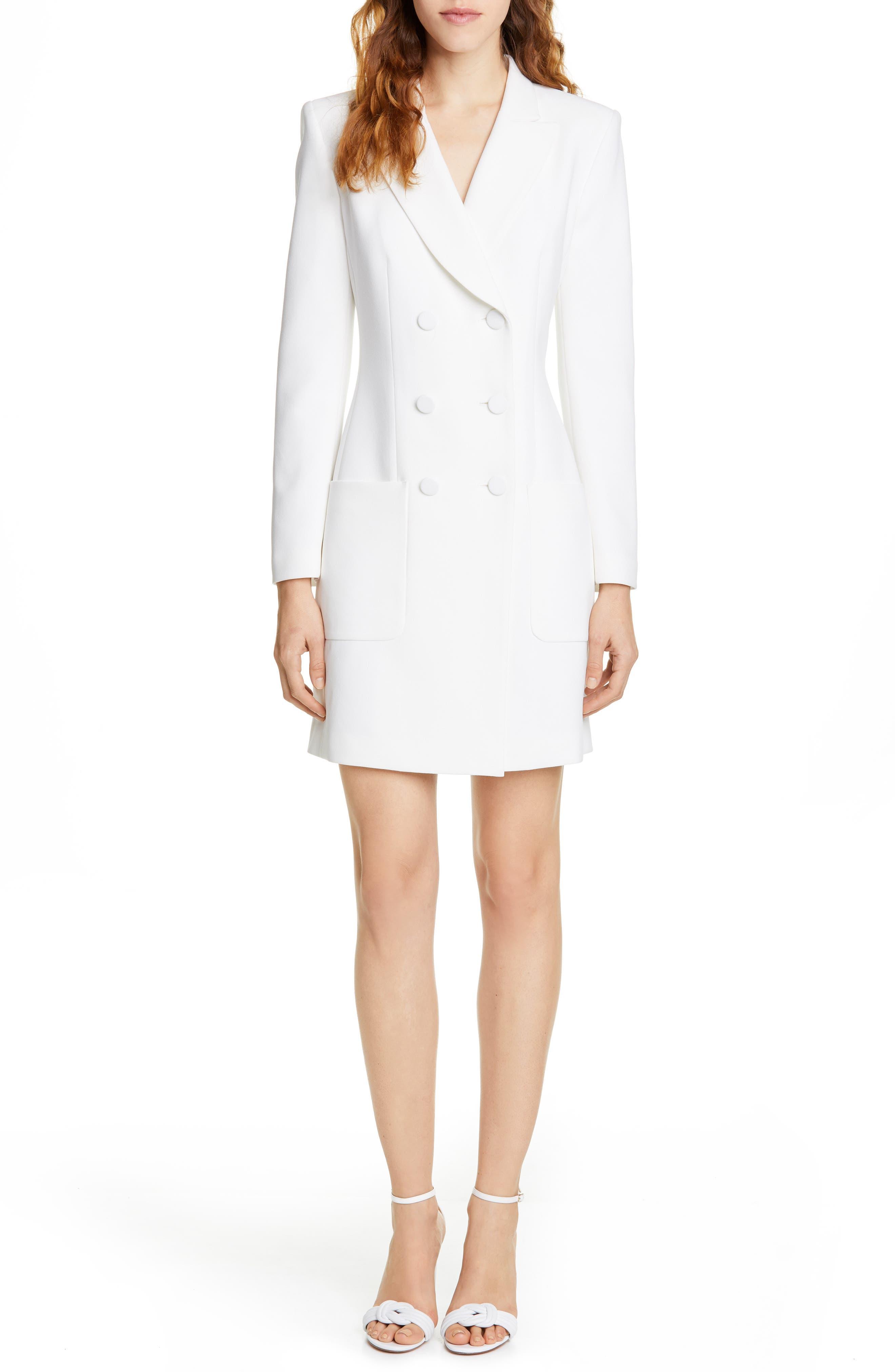 Judith & Charles Digital Double Breasted Blazer Dress, Ivory