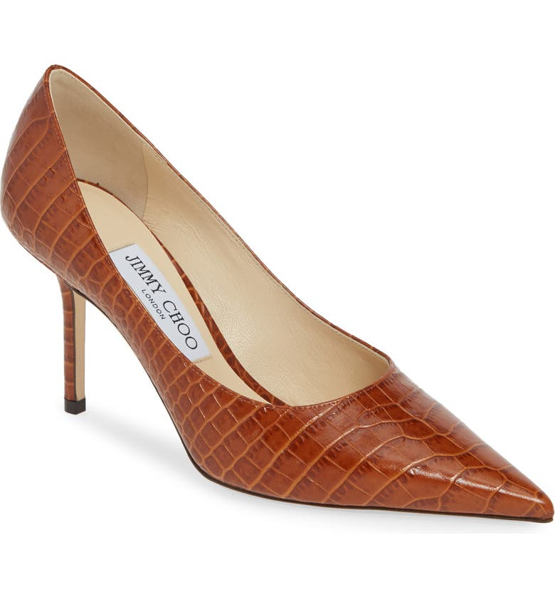JIMMY CHOO Love Pointy Toe Pump, Main, color, BROWN CROC