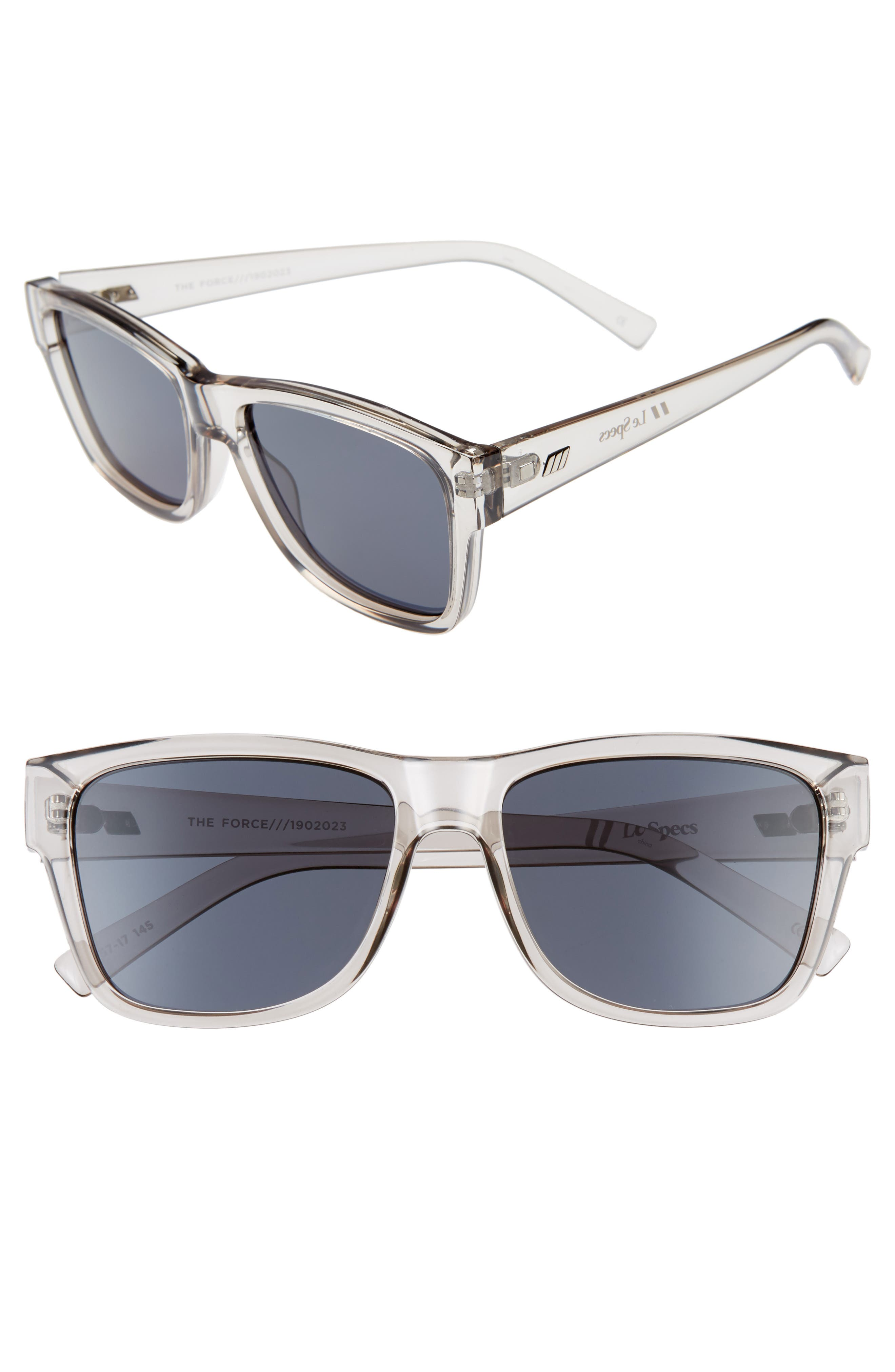 The Force 57mm Transparent Square Sunglasses, Main, color, TRANSPARENT PEWTER/ SMOKE