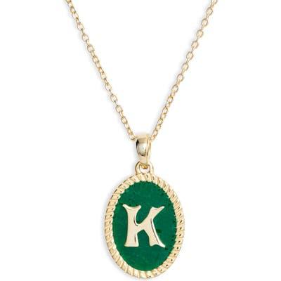 Argento Vivo Initial Green Pendant Necklace