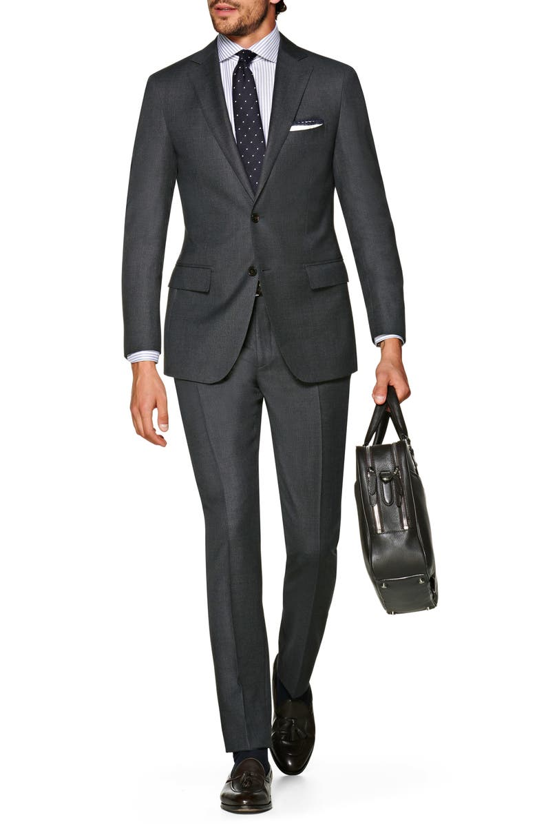 SUITSUPPLY Sienna Regular Fit Bird's Eye Wool Suit, Main, color, MID GREY