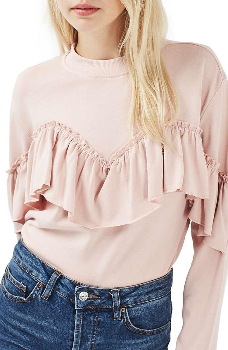 TOPSHOP Ruffle Jersey Sweatshirt, Main, color, 650