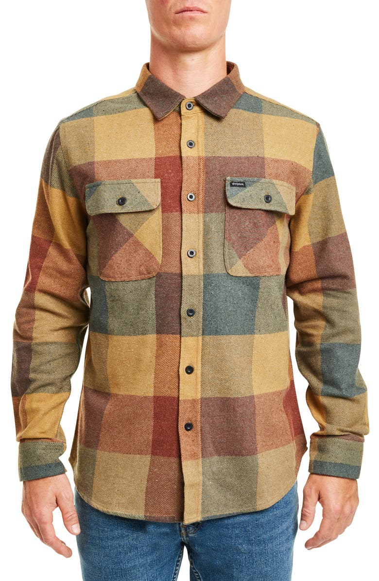 BRIXTON Bowery Buffalo Plaid Button-Up Flannel Shirt, Main, color, RUST/ COPPER