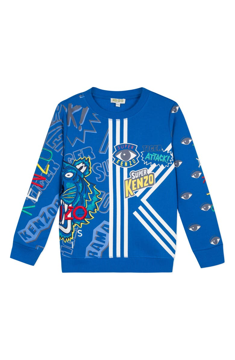 KENZO Multi Icon Graphic Sweatshirt, Main, color, LAGOON BLUE