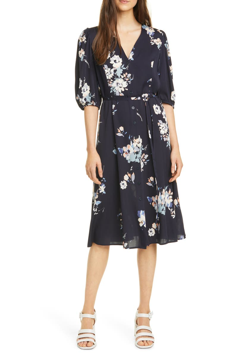 NORDSTROM SIGNATURE Button Front Stretch Silk Dress, Main, color, 411