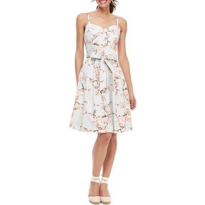 Gal Meets Glam Collection Daphne Cherry Blossom Button Front Sundress, Ivory