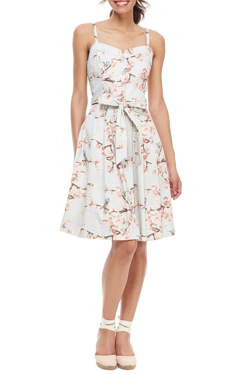 GAL MEETS GLAM COLLECTION Daphne Cherry Blossom Button Front Sundress, Main, color, SOFT WHITE/ SUNSET PINK