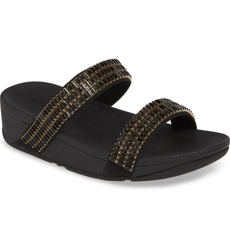FITFLOP Lottie Crystalstone Slide Sandal, Main, color, 001
