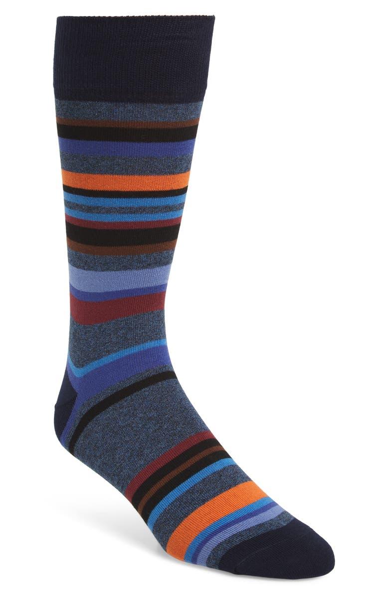 PAUL SMITH Aster Stripe Socks, Main, color, BLUE MULTI
