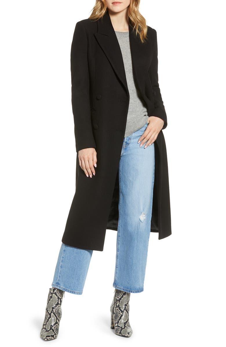 AVEC LES FILLES Double Breasted Wool Blend Coat, Main, color, BLACK
