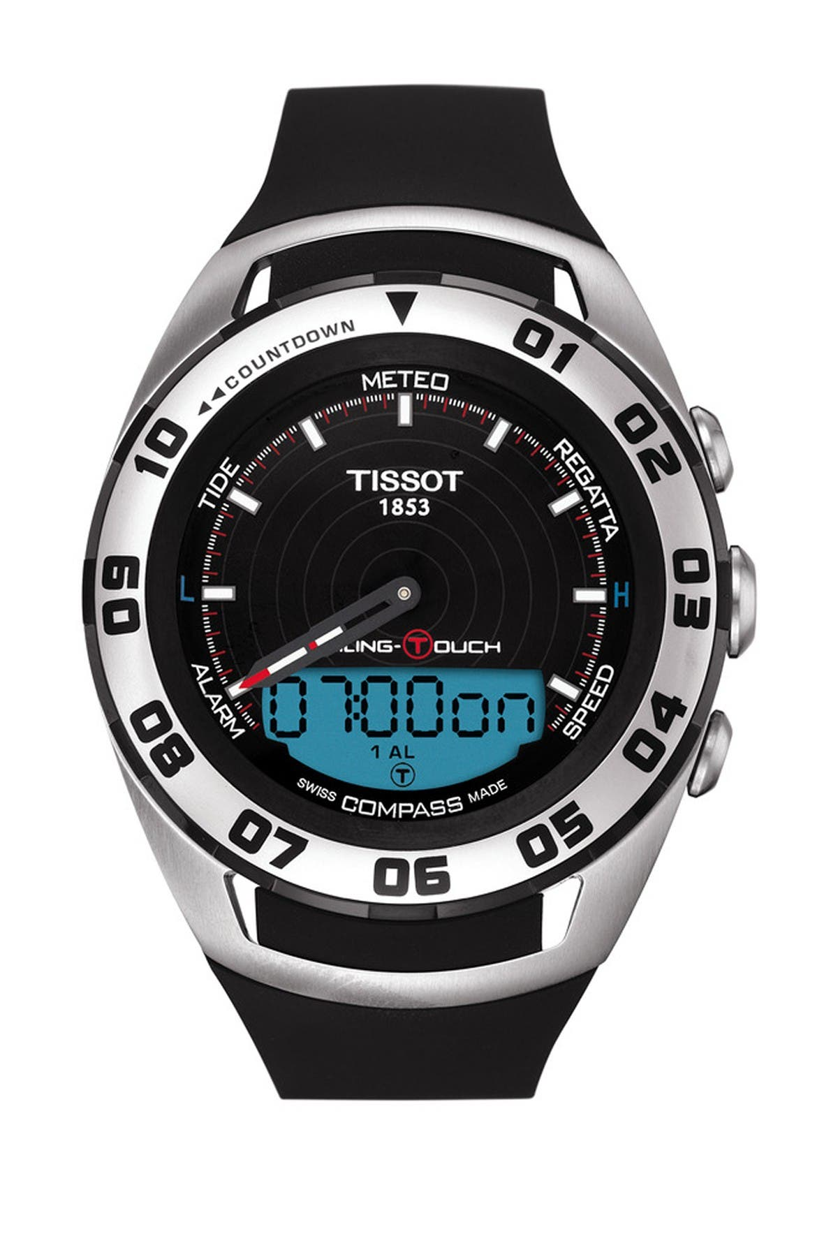 Image of Tissot Men's Sailing-Touch Swiss Rubber Strap Watch, 45mm