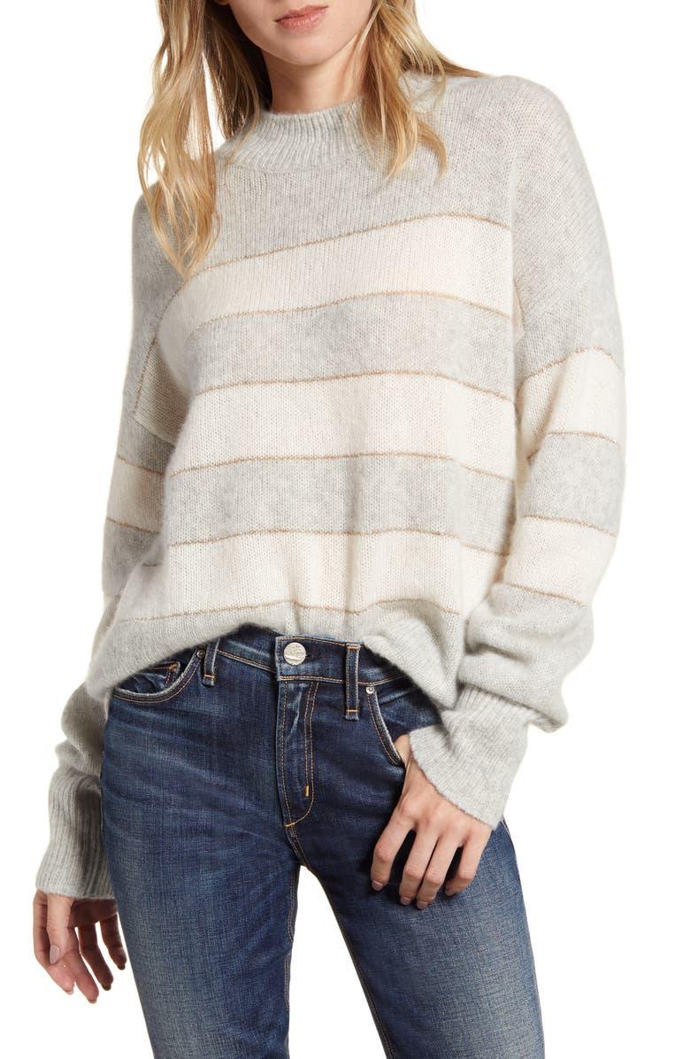RAILS Ellise Metallic Detail Stripe Cashmere & Silk Mock Neck Sweater, Main, color, MIST IVORY STRIPE