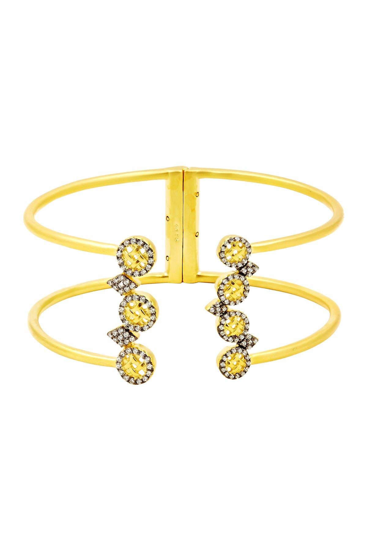 Image of Freida Rothman 14K Yellow Gold Plated Sterling Silver CZ Lattice Motif Cuff Bracelet