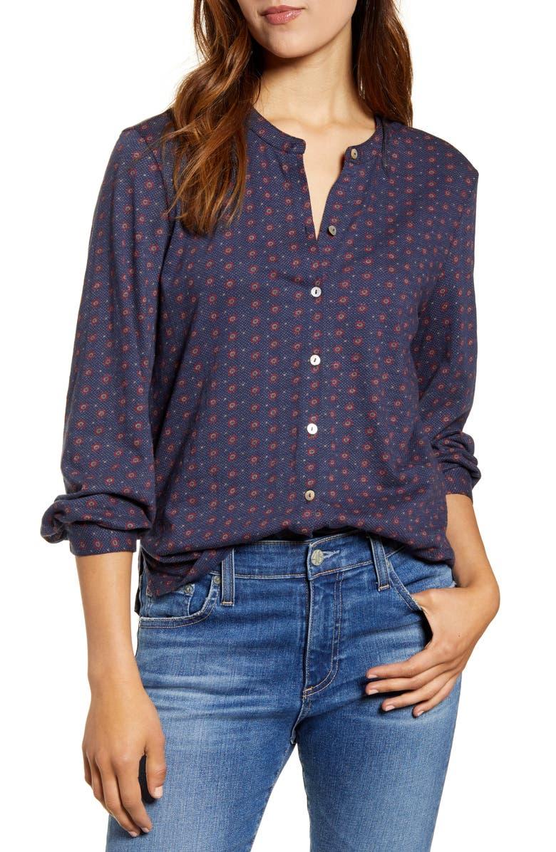 LUCKY BRAND Print Shirt, Main, color, NAVY MULTI