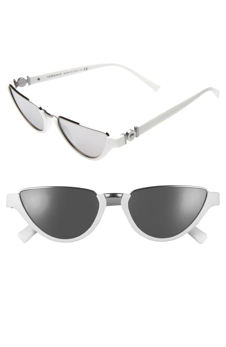 VERSACE 54mm Half Moon Sunglasses, Main, color, WHITE/ SILVER MIRROR