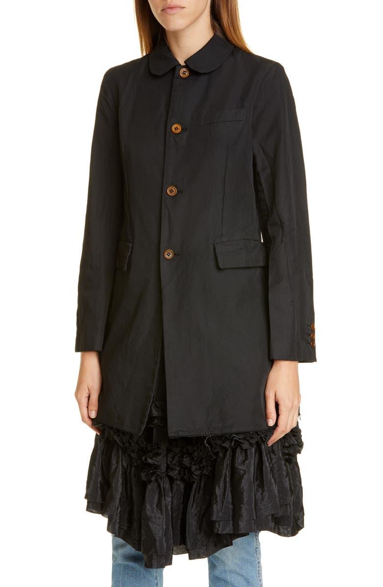 COMME DES GARÇONS Ruffle Taffeta Hem Gabardine Jacket, Main, color, BLACK