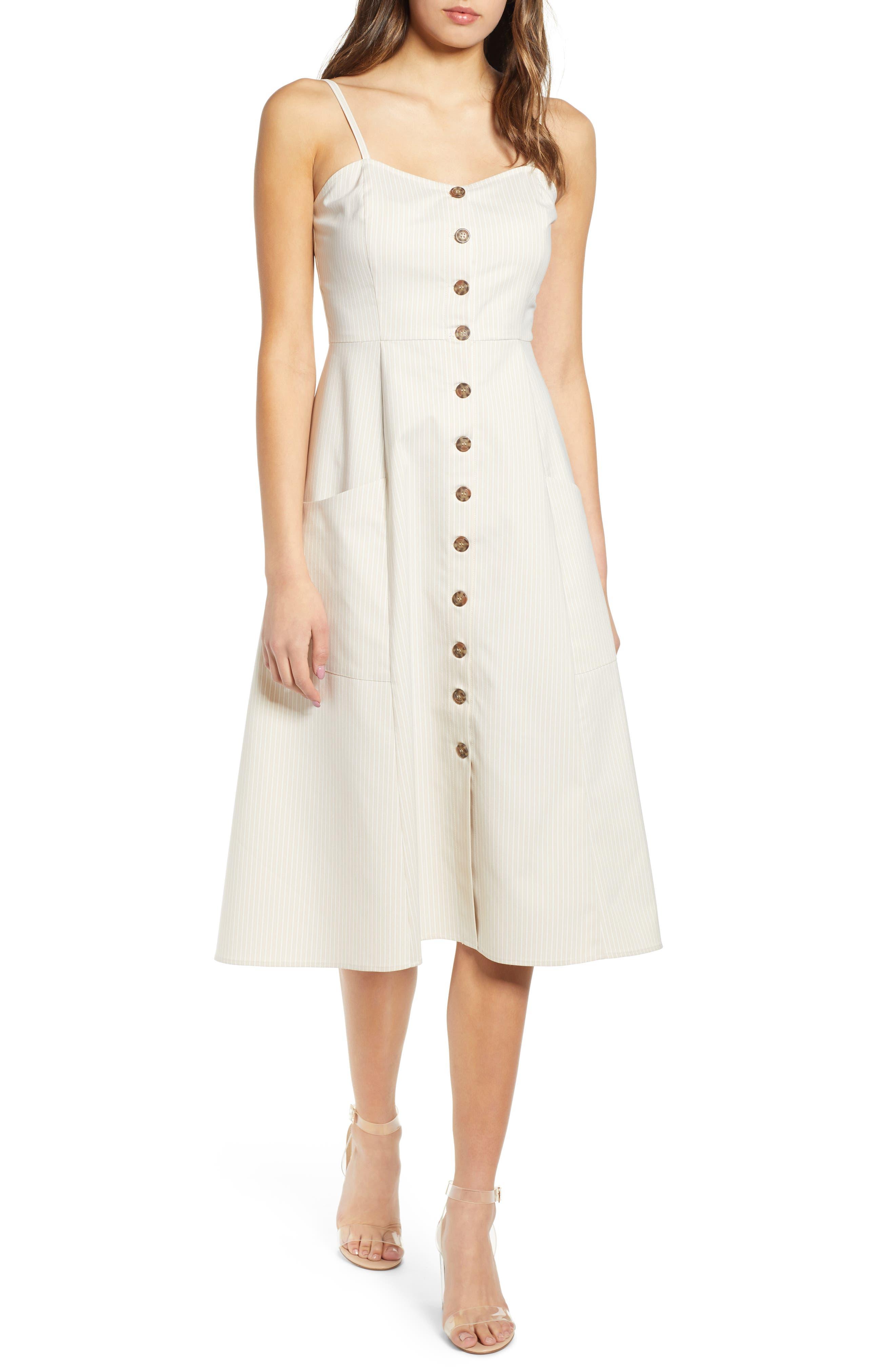 Wayf Hollie A-Line Dress, Ivory