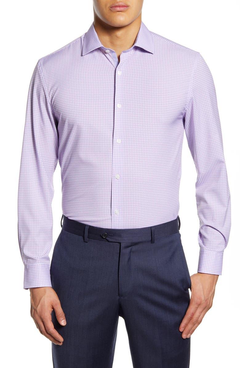 W.R.K Trim Fit Performance Stretch Check Dress Shirt, Main, color, LILAC